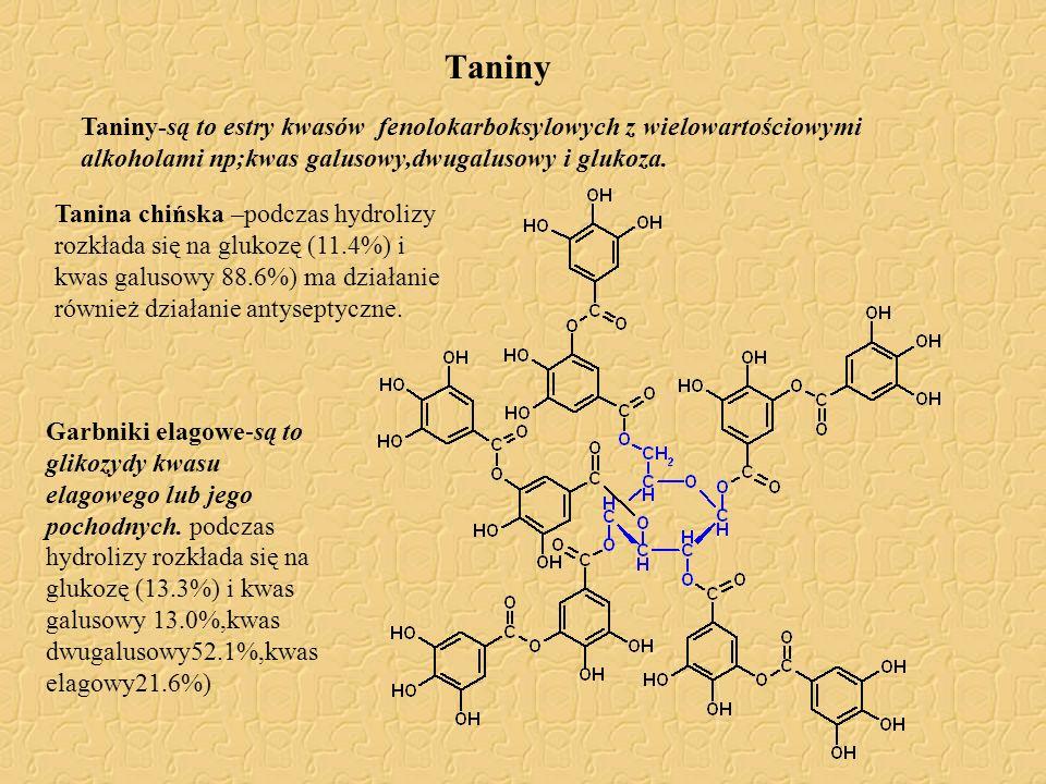 Taniny Taniny-są to estry kwasów fenolokarboksylowych z wielowartościowymi alkoholami np;kwas galusowy,dwugalusowy i glukoza. Tanina chińska –podczas