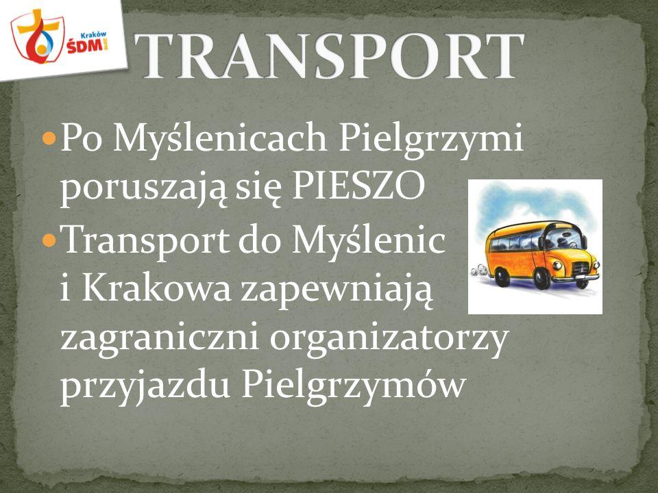 Po Myślenicach Pielgrzymi poruszają się PIESZO Transport do Myślenic i Krakowa zapewniają zagraniczni organizatorzy przyjazdu Pielgrzymów