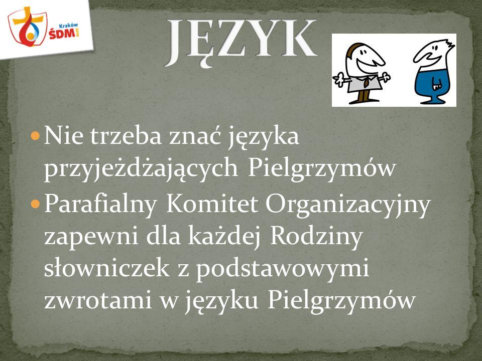 Nie trzeba znać języka przyjeżdżających Pielgrzymów Parafialny Komitet Organizacyjny zapewni dla każdej Rodziny słowniczek z podstawowymi zwrotami w języku Pielgrzymów