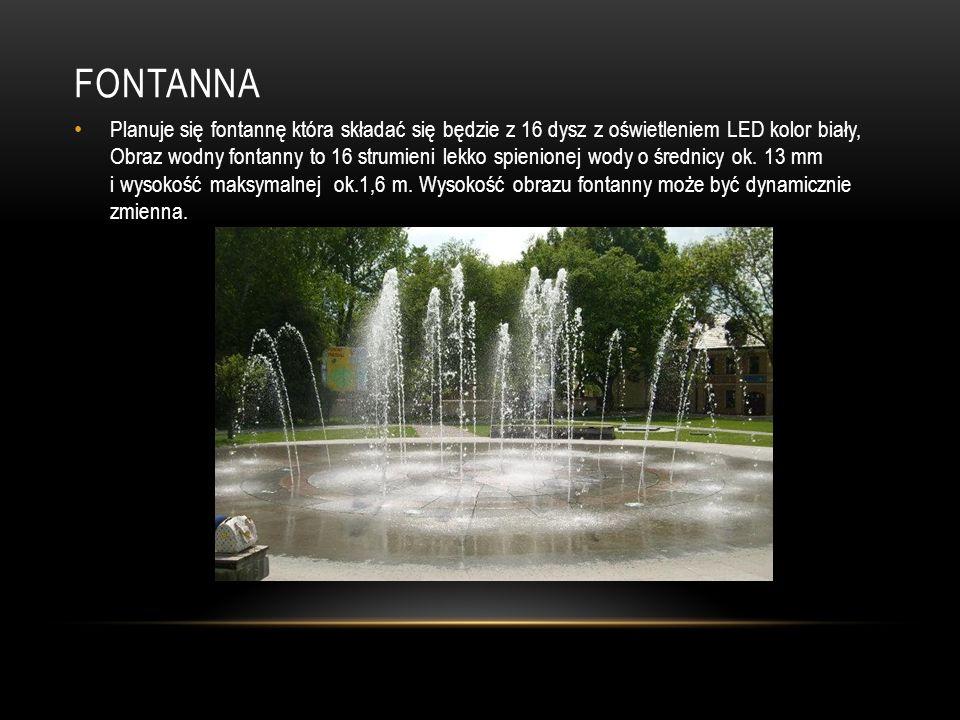 FONTANNA Planuje się fontannę która składać się będzie z 16 dysz z oświetleniem LED kolor biały, Obraz wodny fontanny to 16 strumieni lekko spienionej