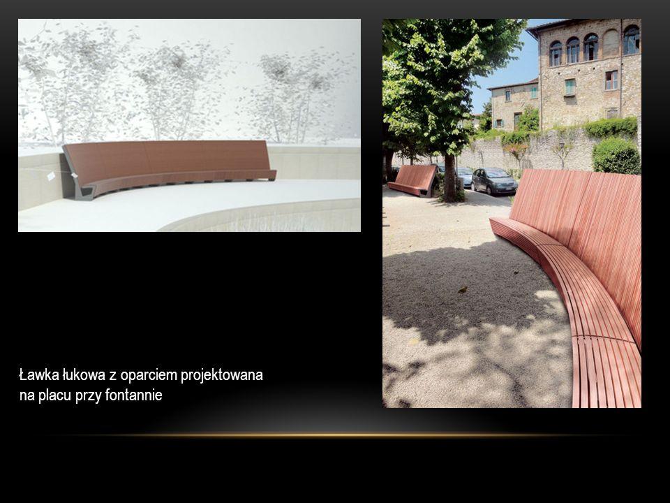Ławka łukowa z oparciem projektowana na placu przy fontannie