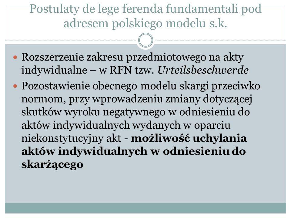 Postulaty de lege ferenda fundamentali pod adresem polskiego modelu s.k. Rozszerzenie zakresu przedmiotowego na akty indywidualne – w RFN tzw. Urteils