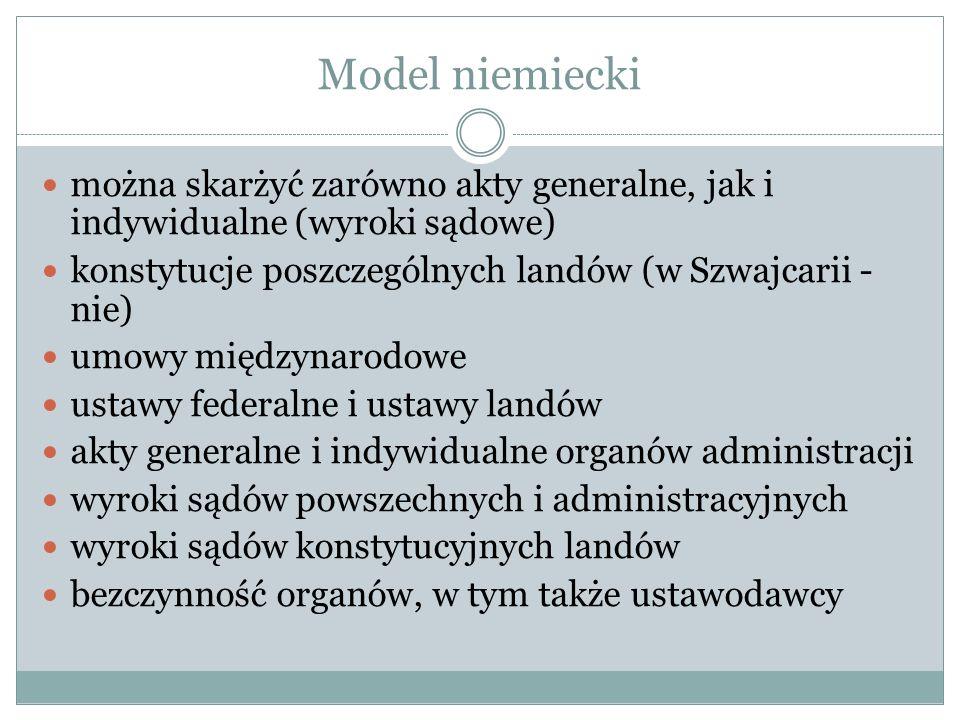 Model skargi o wąskim zakresie przedmiotowym i szerokim zakresie podmiotowym wyłącznie akty stosowania prawa (Słowenia) wyłącznie akty generalne – Polska i Węgry