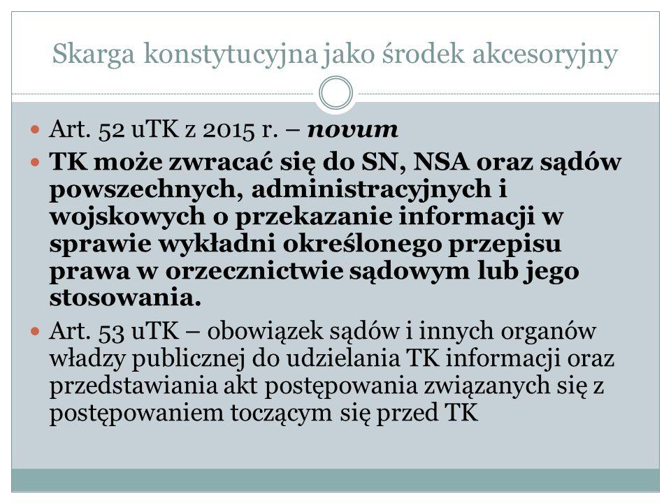 Skarga konstytucyjna jako środek akcesoryjny Art. 52 uTK z 2015 r. – novum TK może zwracać się do SN, NSA oraz sądów powszechnych, administracyjnych i