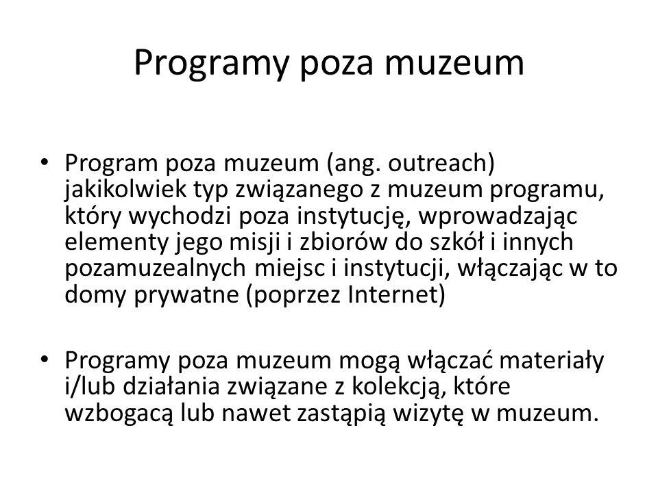 Programy poza muzeum Program poza muzeum (ang. outreach) jakikolwiek typ związanego z muzeum programu, który wychodzi poza instytucję, wprowadzając el