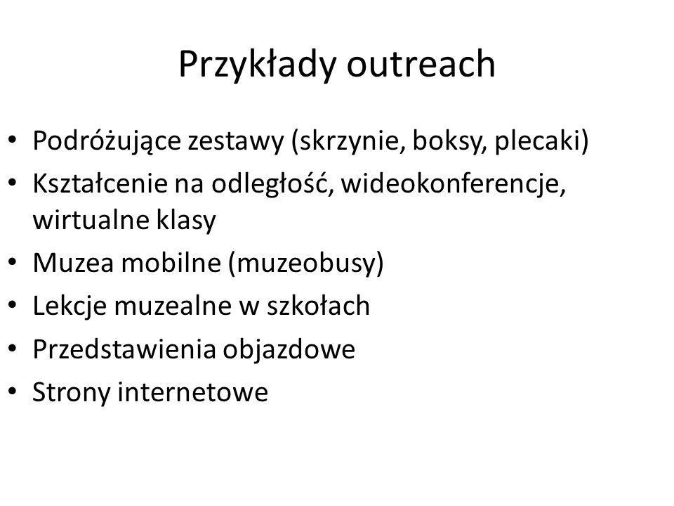 Przykłady outreach Podróżujące zestawy (skrzynie, boksy, plecaki) Kształcenie na odległość, wideokonferencje, wirtualne klasy Muzea mobilne (muzeobusy