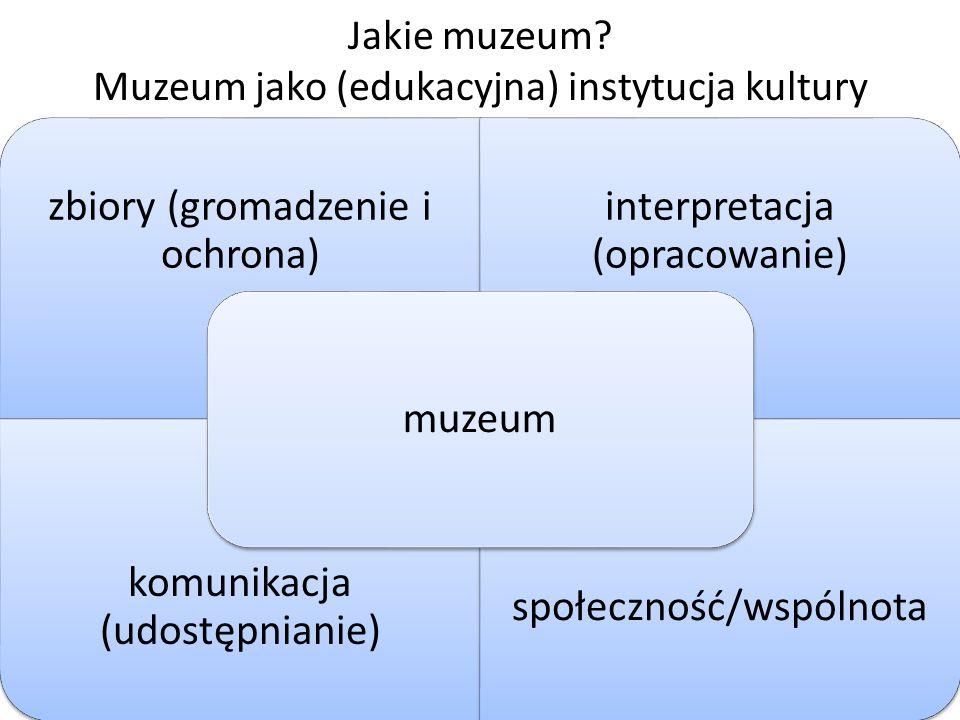 Jakie muzeum? Muzeum jako (edukacyjna) instytucja kultury zbiory (gromadzenie i ochrona) interpretacja (opracowanie) komunikacja (udostępnianie) społe