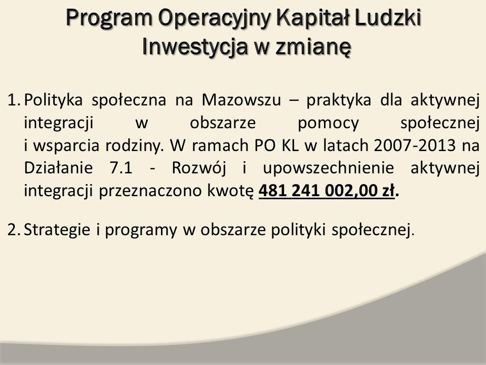 1.Polityka społeczna na Mazowszu – praktyka dla aktywnej integracji w obszarze pomocy społecznej i wsparcia rodziny. W ramach PO KL w latach 2007-2013