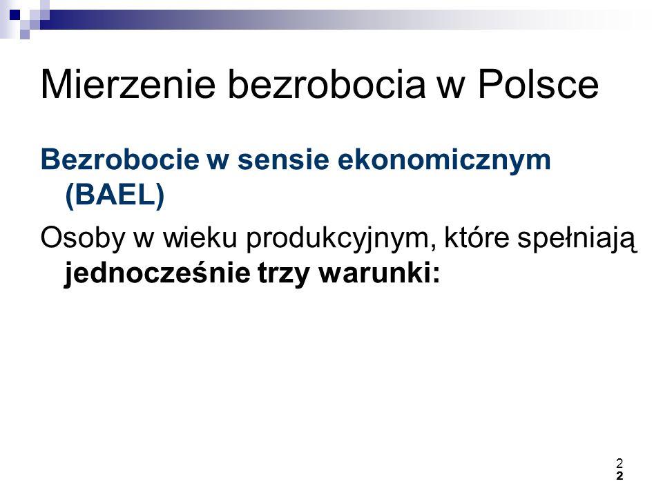 2 2 Mierzenie bezrobocia w Polsce Bezrobocie w sensie ekonomicznym (BAEL) Osoby w wieku produkcyjnym, które spełniają jednocześnie trzy warunki: