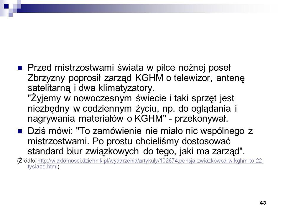 43 Przed mistrzostwami świata w piłce nożnej poseł Zbrzyzny poprosił zarząd KGHM o telewizor, antenę satelitarną i dwa klimatyzatory.