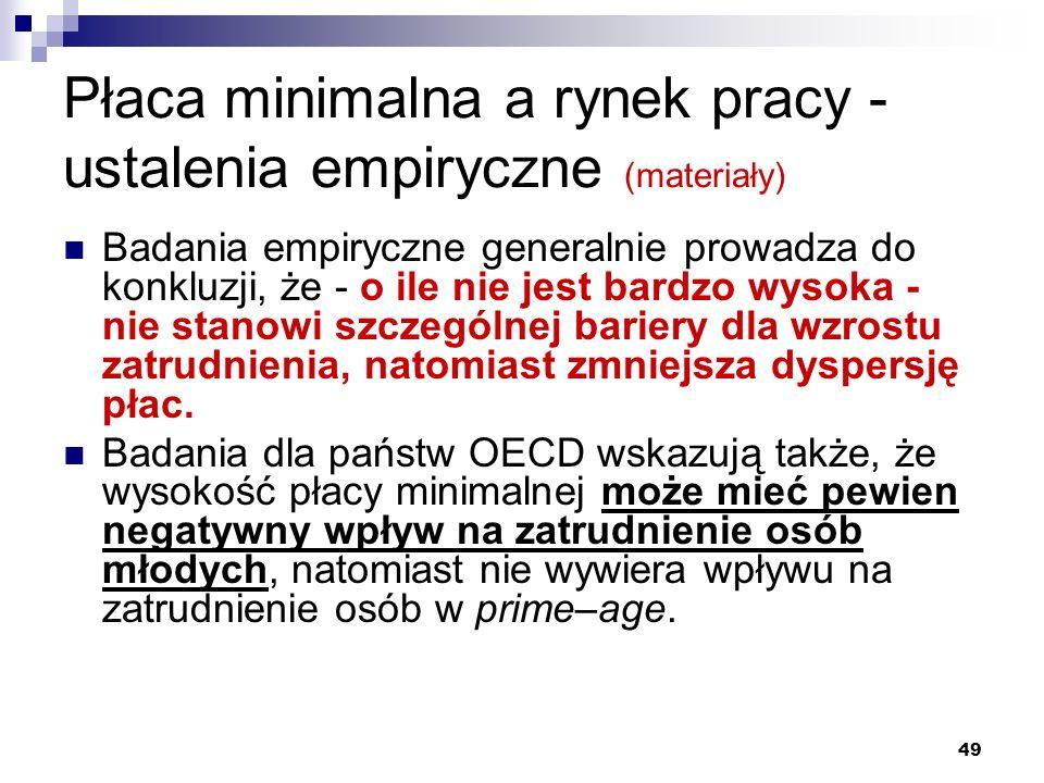 49 Płaca minimalna a rynek pracy - ustalenia empiryczne (materiały) Badania empiryczne generalnie prowadza do konkluzji, że - o ile nie jest bardzo wy