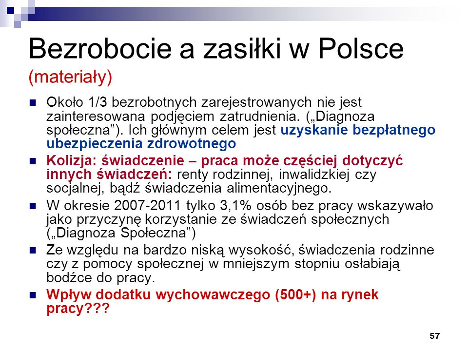"""57 Bezrobocie a zasiłki w Polsce (materiały) Około 1/3 bezrobotnych zarejestrowanych nie jest zainteresowana podjęciem zatrudnienia. (""""Diagnoza społec"""