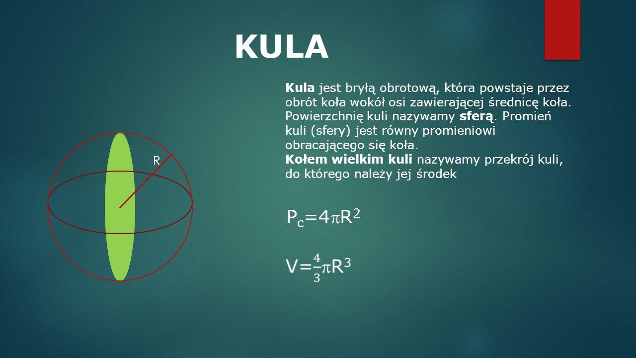 KULA Kula jest bryłą obrotową, która powstaje przez obrót koła wokół osi zawierającej średnicę koła. Powierzchnię kuli nazywamy sferą. Promień kuli (s