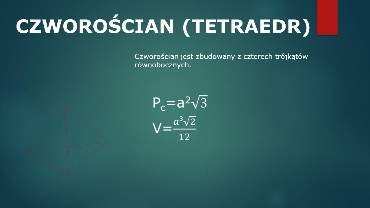 CZWOROŚCIAN (TETRAEDR) Czworościan jest zbudowany z czterech trójkątów równobocznych.