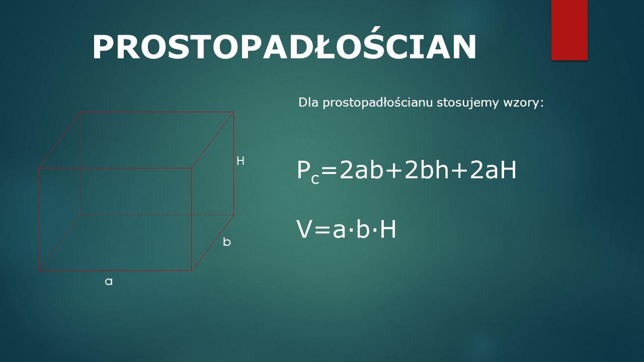 Dla prostopadłościanu stosujemy wzory: P c =2ab+2bh+2aH V=a·b·H PROSTOPADŁOŚCIAN a b H