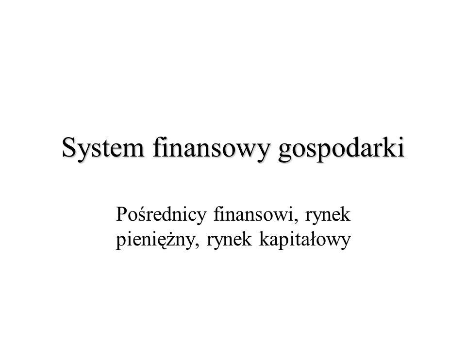 System finansowy gospodarki Pośrednicy finansowi, rynek pieniężny, rynek kapitałowy