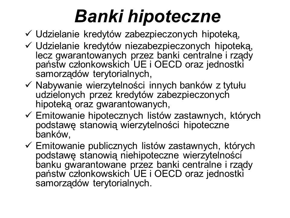 Banki hipoteczne Udzielanie kredytów zabezpieczonych hipoteką, Udzielanie kredytów niezabezpieczonych hipoteką, lecz gwarantowanych przez banki centralne i rządy państw członkowskich UE i OECD oraz jednostki samorządów terytorialnych, Nabywanie wierzytelności innych banków z tytułu udzielonych przez kredytów zabezpieczonych hipoteką oraz gwarantowanych, Emitowanie hipotecznych listów zastawnych, których podstawę stanowią wierzytelności hipoteczne banków, Emitowanie publicznych listów zastawnych, których podstawę stanowią niehipoteczne wierzytelności banku gwarantowane przez banki centralne i rządy państw członkowskich UE i OECD oraz jednostki samorządów terytorialnych.