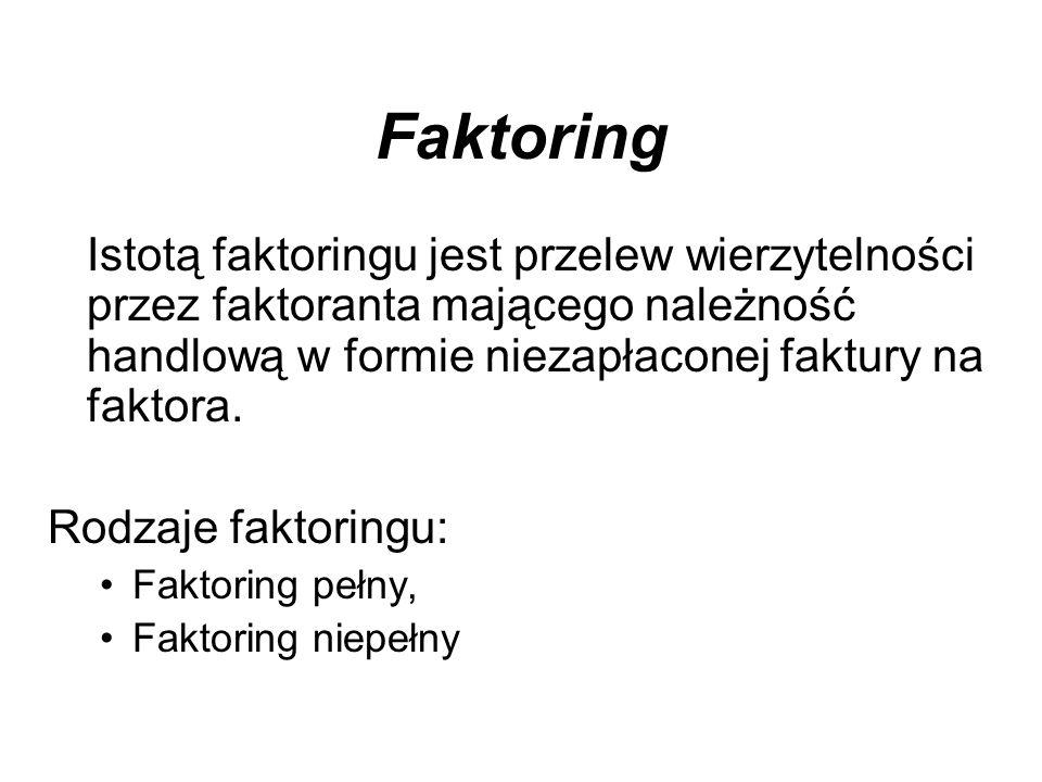 Faktoring Istotą faktoringu jest przelew wierzytelności przez faktoranta mającego należność handlową w formie niezapłaconej faktury na faktora.