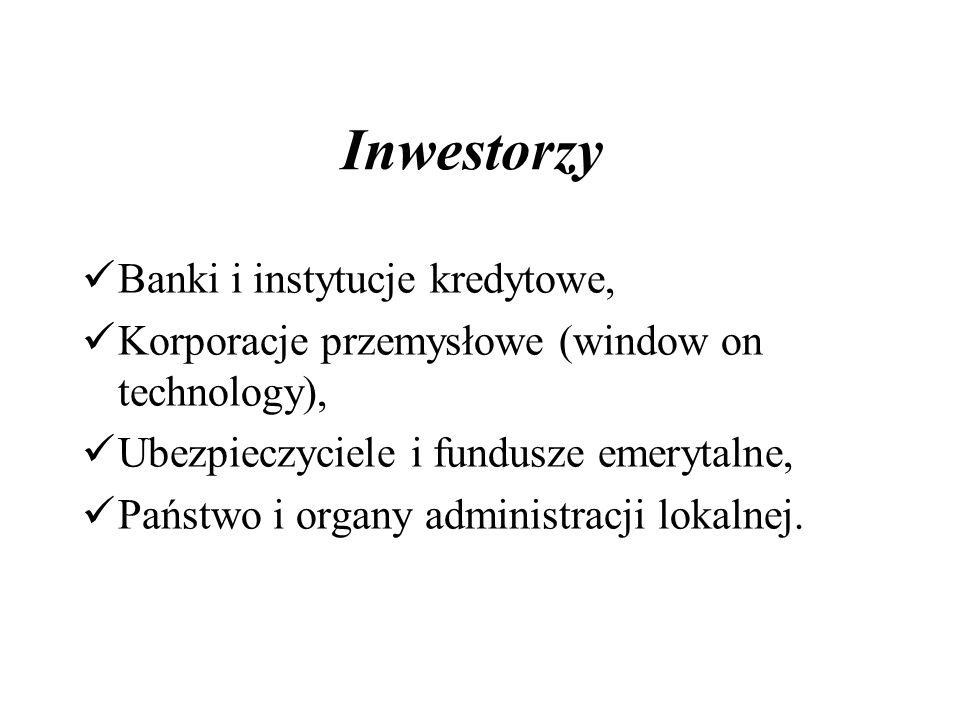 Inwestorzy Banki i instytucje kredytowe, Korporacje przemysłowe (window on technology), Ubezpieczyciele i fundusze emerytalne, Państwo i organy administracji lokalnej.