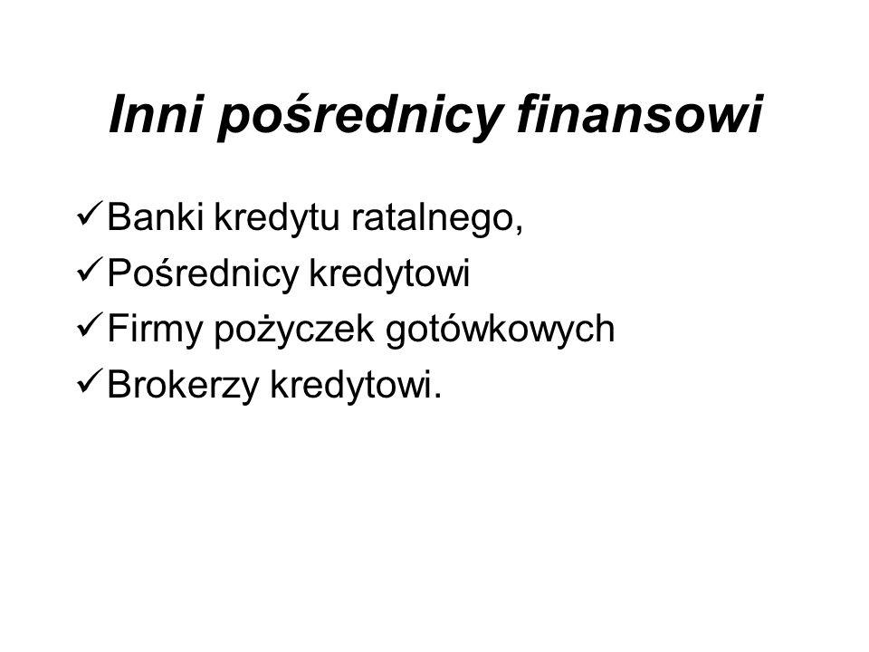 Inni pośrednicy finansowi Banki kredytu ratalnego, Pośrednicy kredytowi Firmy pożyczek gotówkowych Brokerzy kredytowi.