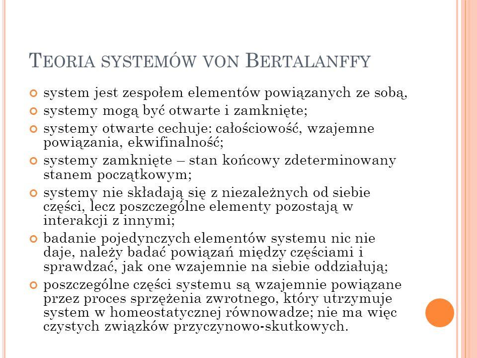 T EORIA SYSTEMÓW VON B ERTALANFFY system jest zespołem elementów powiązanych ze sobą, systemy mogą być otwarte i zamknięte; systemy otwarte cechuje: c