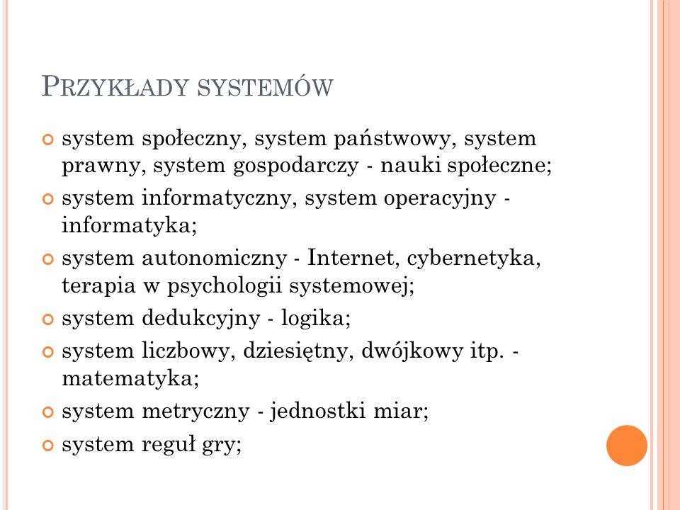 P RZYKŁADY SYSTEMÓW system społeczny, system państwowy, system prawny, system gospodarczy - nauki społeczne; system informatyczny, system operacyjny -