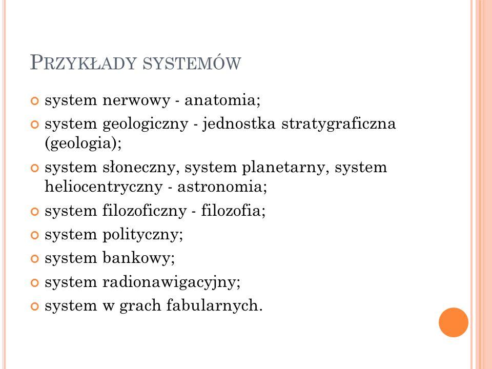 P RZYKŁADY SYSTEMÓW system nerwowy - anatomia; system geologiczny - jednostka stratygraficzna (geologia); system słoneczny, system planetarny, system