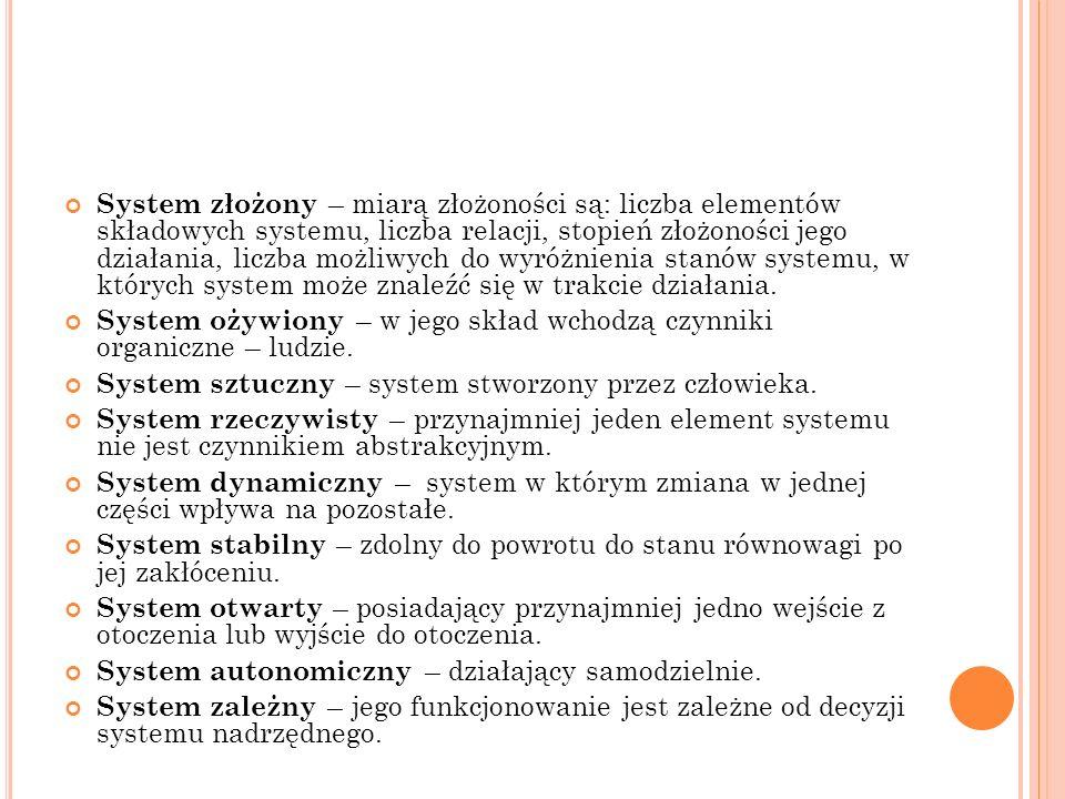 System złożony – miarą złożoności są: liczba elementów składowych systemu, liczba relacji, stopień złożoności jego działania, liczba możliwych do wyró