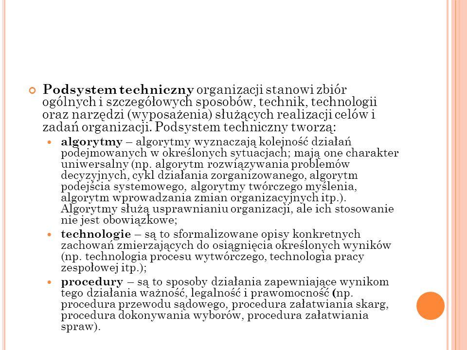 Podsystem techniczny organizacji stanowi zbiór ogólnych i szczegółowych sposobów, technik, technologii oraz narzędzi (wyposażenia) służących realizacj