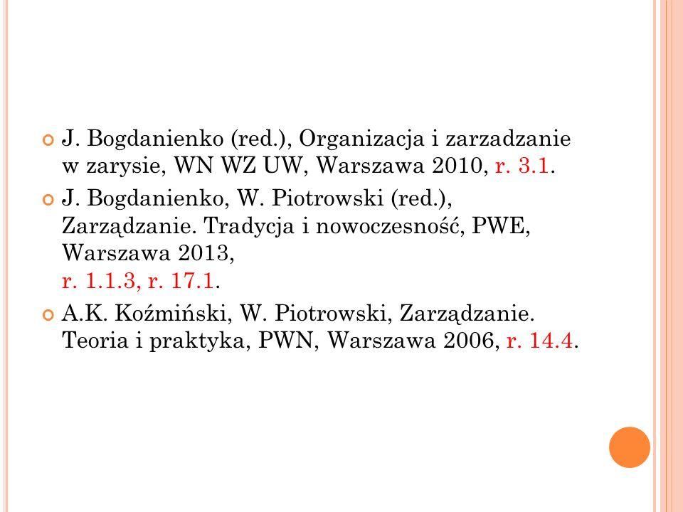 J. Bogdanienko (red.), Organizacja i zarzadzanie w zarysie, WN WZ UW, Warszawa 2010, r. 3.1. J. Bogdanienko, W. Piotrowski (red.), Zarządzanie. Tradyc