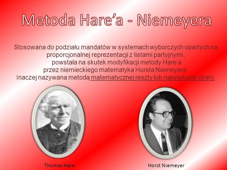 Stosowana do podziału mandatów w systemach wyborczych opartych na proporcjonalnej reprezentacji z listami partyjnymi, powstała na skutek modyfikacji metody Hare'a przez niemieckiego matematyka Horsta Niemeyera.