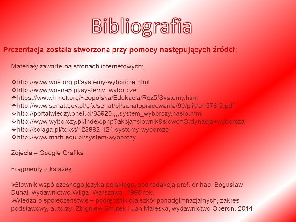 Prezentacja została stworzona przy pomocy następujących źródeł: Materiały zawarte na stronach internetowych:  http://www.wos.org.pl/systemy-wyborcze.html  http://www.wosna5.pl/systemy_wyborcze  https://www.h-net.org/~eopolska/Edukacja/Roz5/Systemy.html  http://www.senat.gov.pl/gfx/senat/pl/senatopracowania/90/plik/ot-578-2.pdf  http://portalwiedzy.onet.pl/85920,,,,system_wyborczy,haslo.html  http://www.wyborczy.pl/index.php akcja=slownik&slowo=Ordynacja+wyborcza  http://sciaga.pl/tekst/123882-124-systemy-wyborcze  http://www.math.edu.pl/system-wyborczy Zdjęcia – Google Grafika Fragmenty z książek:  Słownik współczesnego języka polskiego, pod redakcją prof.