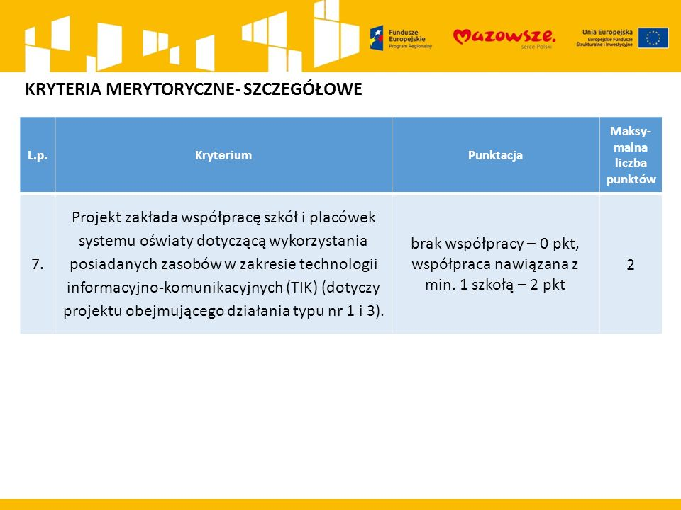 L.p.KryteriumPunktacja Maksy- malna liczba punktów 7.