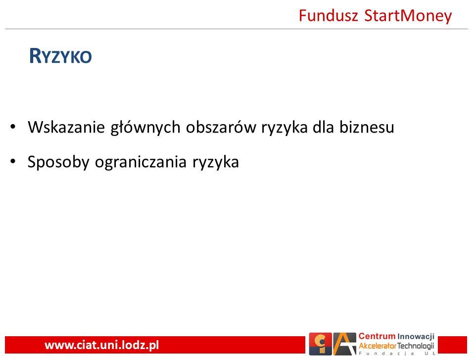 R YZYKO Wskazanie głównych obszarów ryzyka dla biznesu Sposoby ograniczania ryzyka www.ciat.uni.lodz.pl Fundusz StartMoney