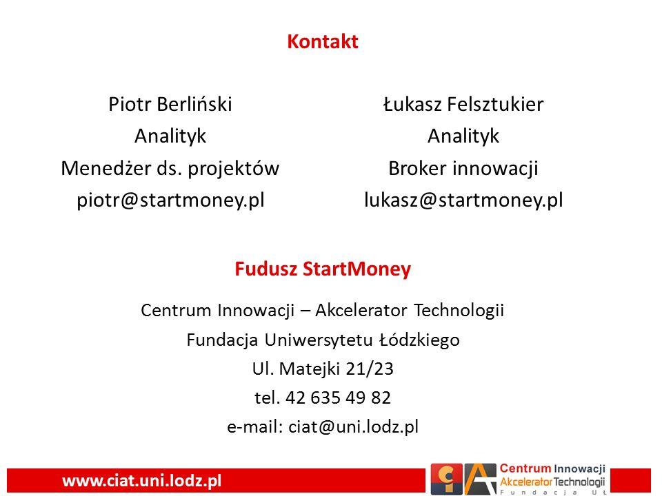 www.ciat.uni.lodz.pl Łukasz Felsztukier Analityk Broker innowacji lukasz@startmoney.pl Piotr Berliński Analityk Menedżer ds.