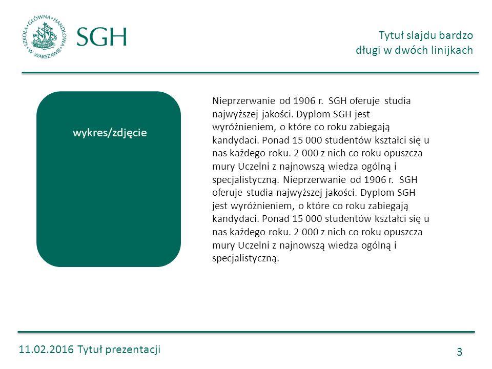 11.02.2016 Tytuł prezentacji Tytuł slajdu bardzo długi w dwóch linijkach 3 Nieprzerwanie od 1906 r. SGH oferuje studia najwyższej jakości. Dyplom SGH