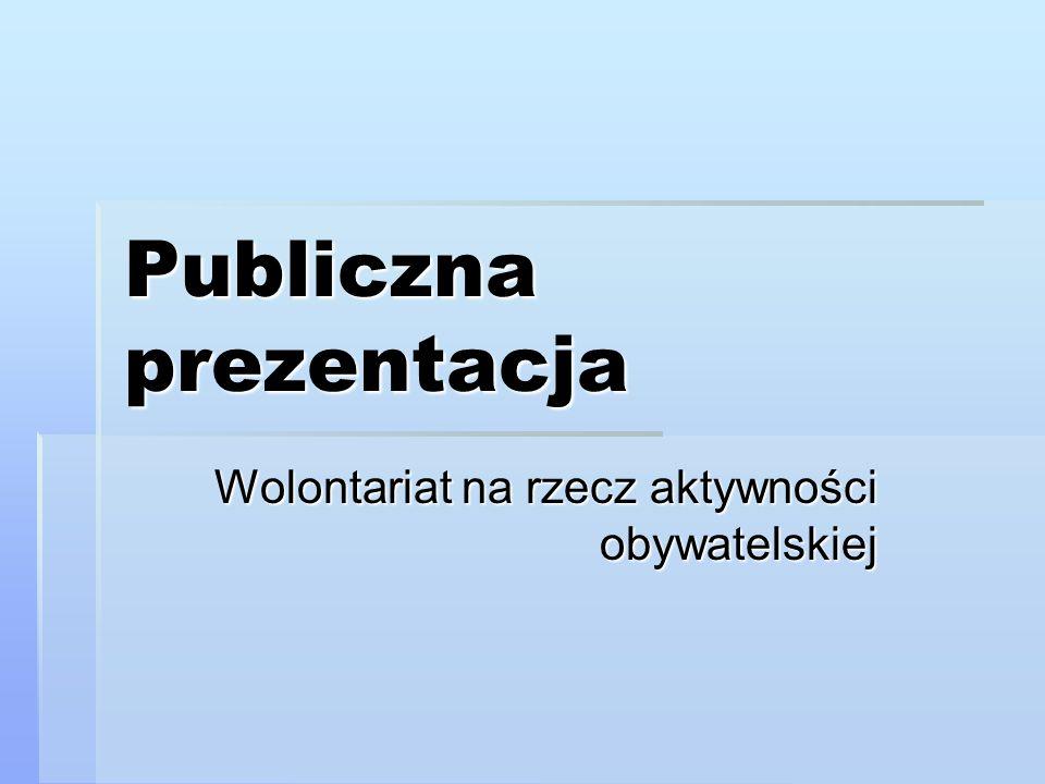 Publiczna prezentacja Wolontariat na rzecz aktywności obywatelskiej