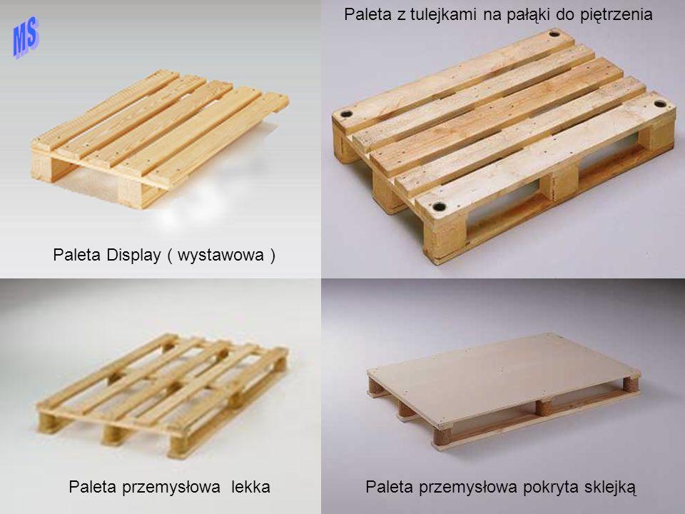 Przykłady palet płaskich Paleta Display ( wystawowa ) Paleta z tulejami na pałąki Paleta przemysłowa lekkaPaleta przemysłowa pokryta sklejką Paleta z