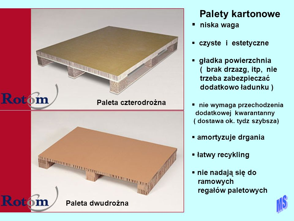 18032 Paleta czterodrożna Paleta dwudrożna Palety kartonowe  niska waga  czyste i estetyczne  gładka powierzchnia ( brak drzazg, itp, nie trzeba za