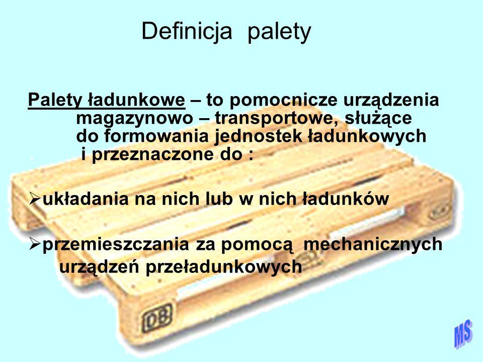 Definicja palety Palety ładunkowe – to pomocnicze urządzenia magazynowo – transportowe, służące do formowania jednostek ładunkowych i przeznaczone do
