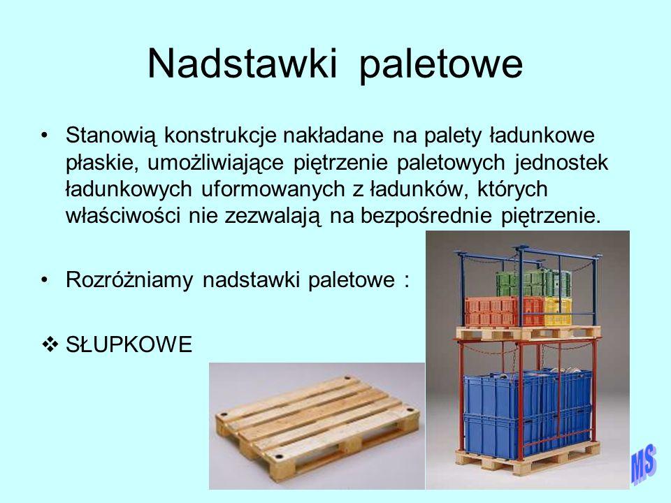 Nadstawki paletowe Stanowią konstrukcje nakładane na palety ładunkowe płaskie, umożliwiające piętrzenie paletowych jednostek ładunkowych uformowanych