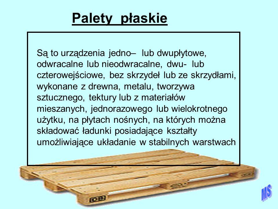 Palety płaskie Są to urządzenia jedno– lub dwupłytowe, odwracalne lub nieodwracalne, dwu- lub czterowejściowe, bez skrzydeł lub ze skrzydłami, wykonan