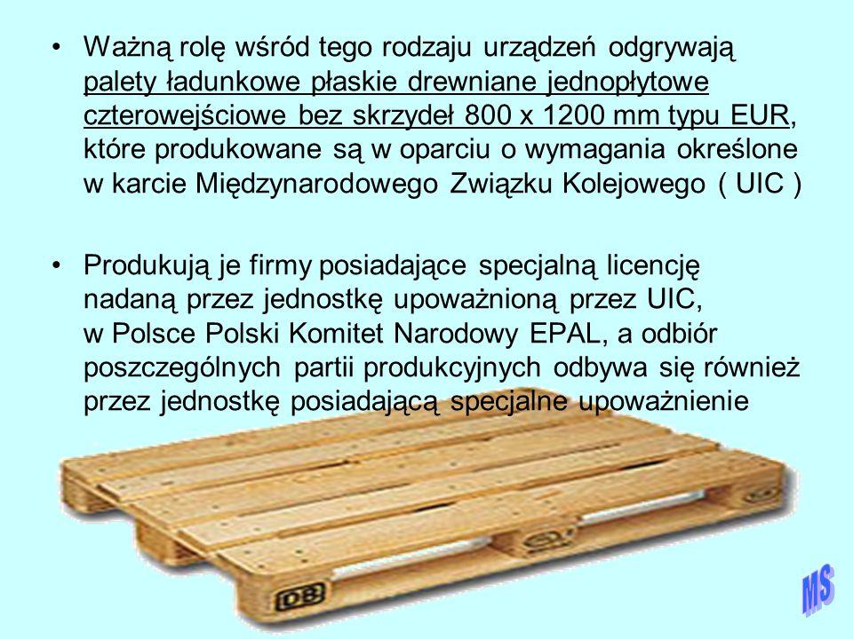 Ważną rolę wśród tego rodzaju urządzeń odgrywają palety ładunkowe płaskie drewniane jednopłytowe czterowejściowe bez skrzydeł 800 x 1200 mm typu EUR,