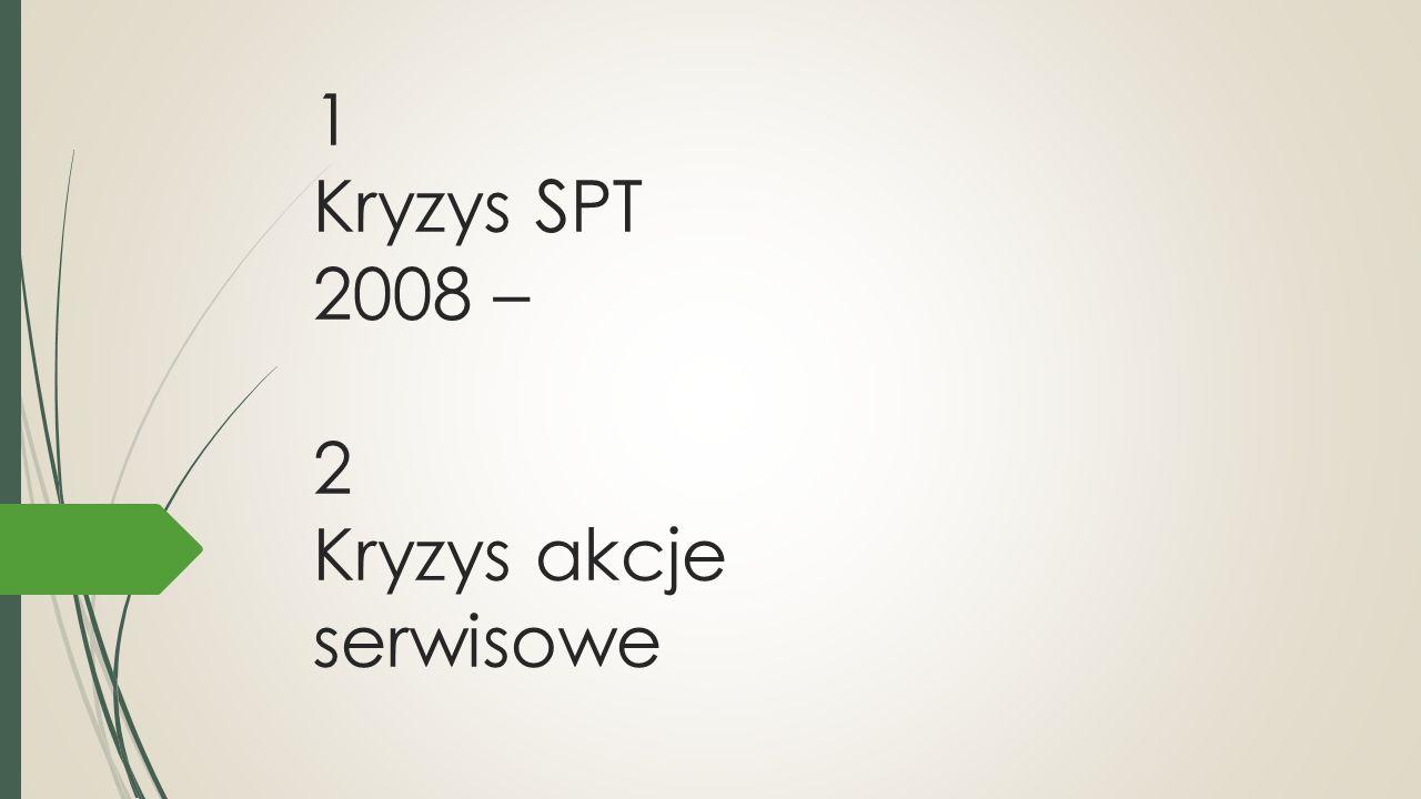1 Kryzys SPT 2008 – 2 Kryzys akcje serwisowe