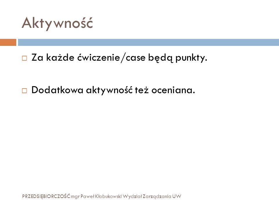 Aktywność PRZEDSIĘBIORCZOŚĆ mgr Paweł Kłobukowski Wydział Zarządzania UW  Za każde ćwiczenie/case będą punkty.  Dodatkowa aktywność też oceniana.