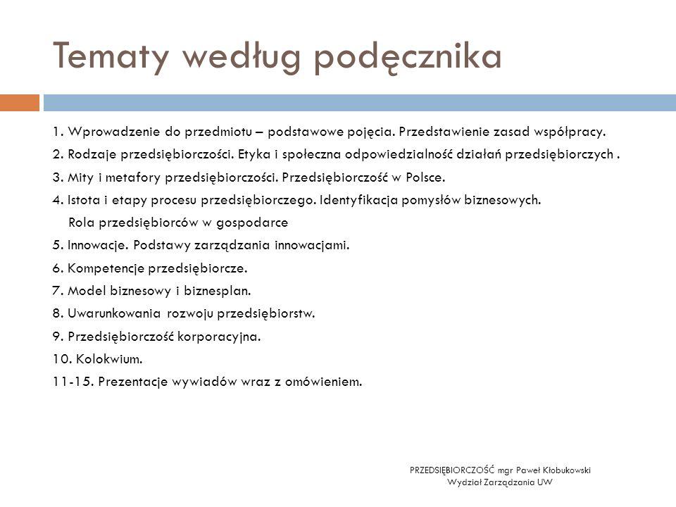 Tematy według podęcznika PRZEDSIĘBIORCZOŚĆ mgr Paweł Kłobukowski Wydział Zarządzania UW 1. Wprowadzenie do przedmiotu – podstawowe pojęcia. Przedstawi