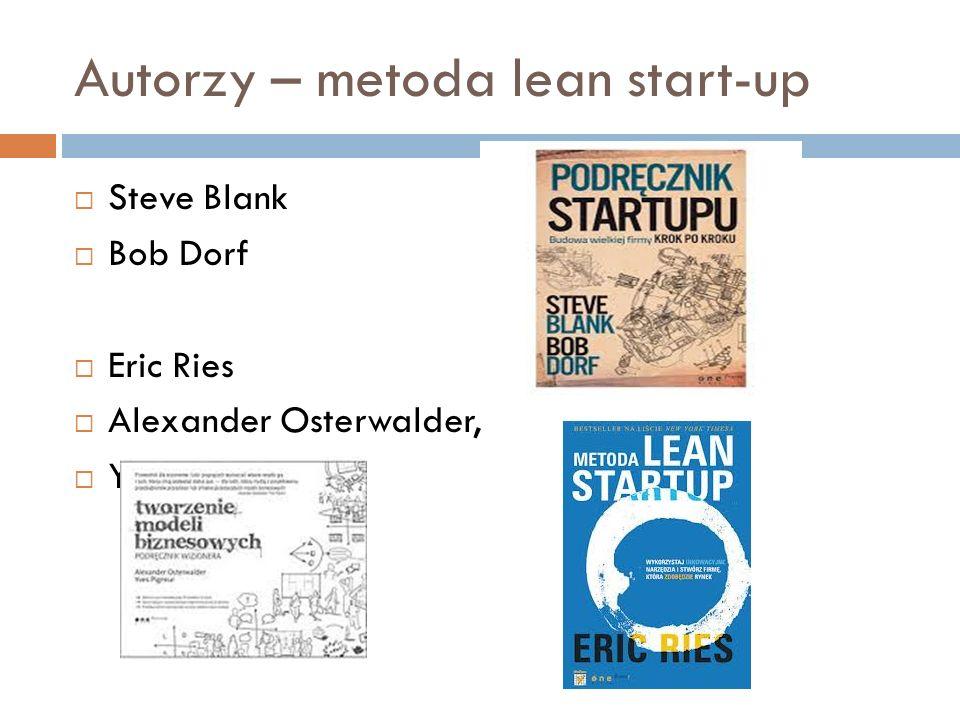 Autorzy – metoda lean start-up  Steve Blank  Bob Dorf  Eric Ries  Alexander Osterwalder,  Yves Pigneur