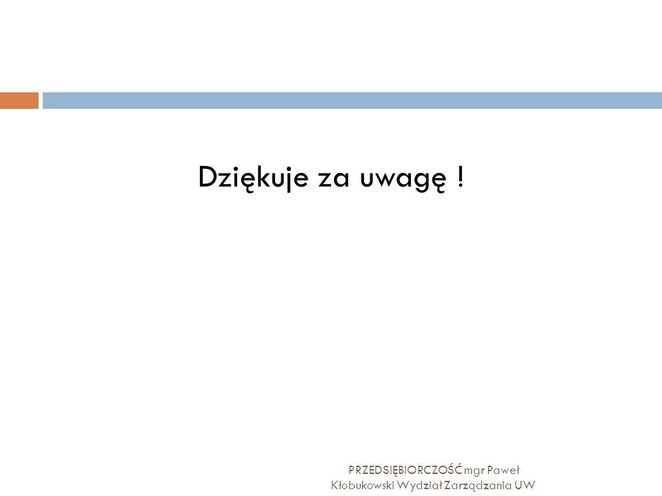 PRZEDSIĘBIORCZOŚĆ mgr Paweł Kłobukowski Wydział Zarządzania UW Dziękuje za uwagę !