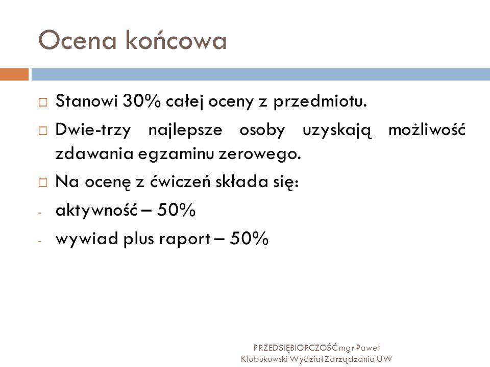 Ocena końcowa PRZEDSIĘBIORCZOŚĆ mgr Paweł Kłobukowski Wydział Zarządzania UW  Stanowi 30% całej oceny z przedmiotu.  Dwie-trzy najlepsze osoby uzysk