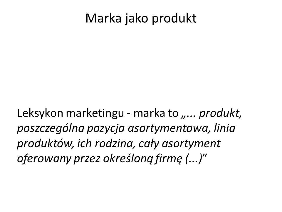 """Marka jako znak towarowy American Marketing Associacion """"marka to nazwa, termin, symbol, wzór lub ich kombinacja, stworzona celem identyfikacji dóbr lub usług sprzedawcy lub ich grupy i wyróżnienia ich spośród konkurencji polskie ustawodawstwo """"znakiem towarowym może być w szczególności wyraz, rysunek, ornament, kompozycja kolorystyczna, forma przestrzenna, w tym forma towaru lub opakowania, a także melodia lub inny sygnał dźwiękowy"""